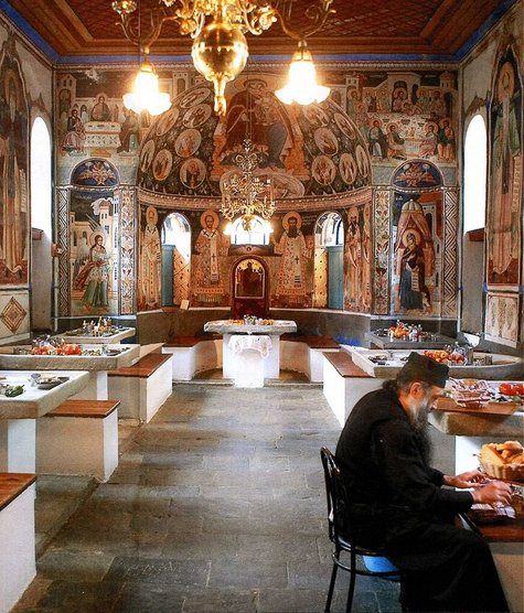 I was entranced  over the weekend  by this immensely beautiful photograph  of the refectory of one of the monasteries on Mount Athos in Greece Autumn Cottage Diarist  The Most Beautiful Dining Room in the World . Most Beautiful Dining Room Pictures. Home Design Ideas
